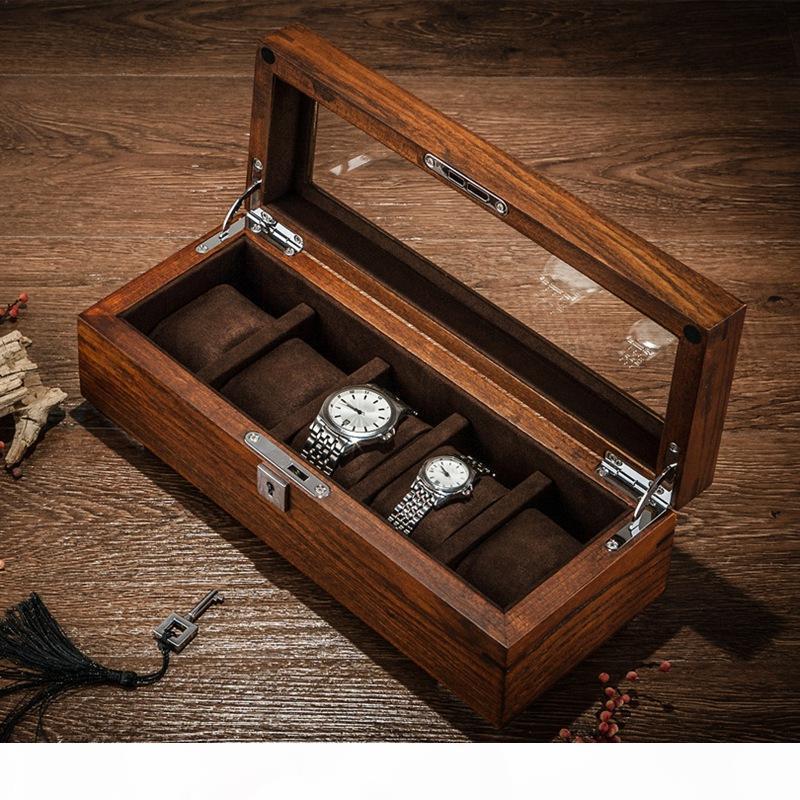 Tang caso de almacenamiento de 5 ranuras de madera del reloj de las cajas de almacenamiento Caso mecánico de los hombres del reloj del Bloqueo de la pantalla de madera joyas caja de regalo