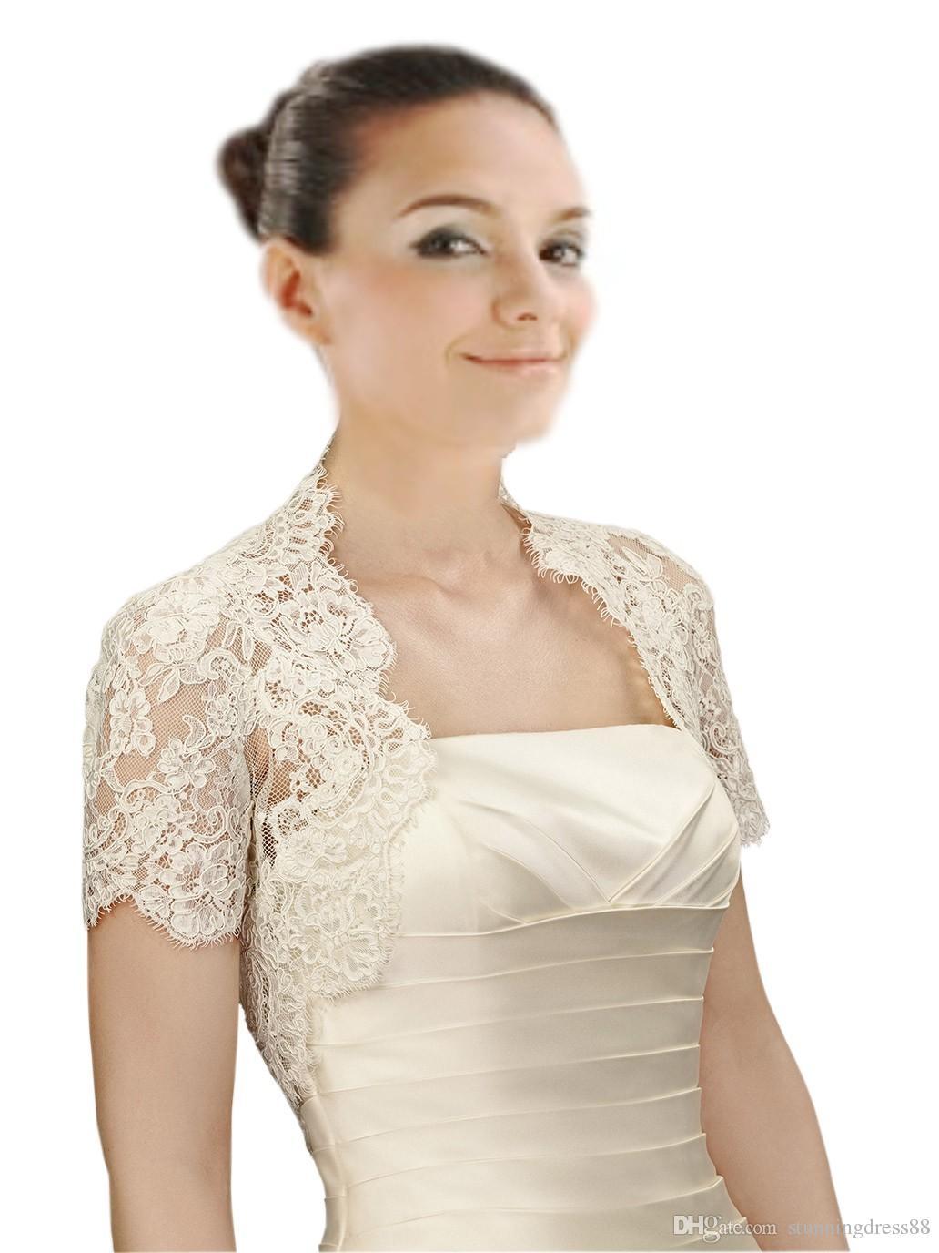2020 Chic Short Sleeves Wedding Bridal Jackets Bolero White Ivory High Quality Free Shipping Wedding Wrap For Wedding Dress Gowns Plus size