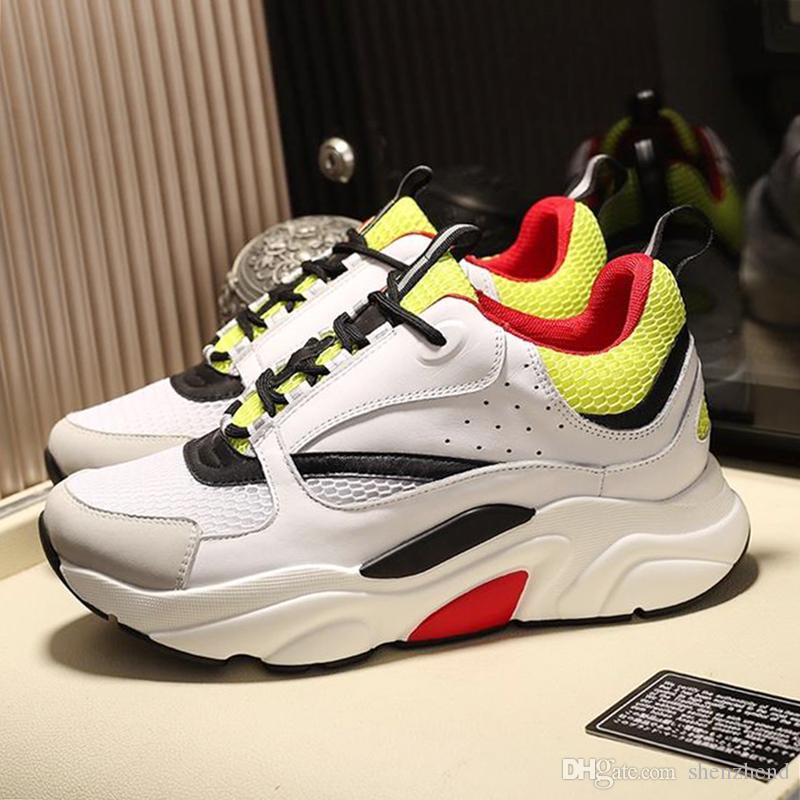 Легкая мужская обувь B22 Бело-желтые и черные кроссовки из плотной и телячьей кожи Мягкая обувь с оригинальной коробкой Низкая верхняя повседневная мужская обувь