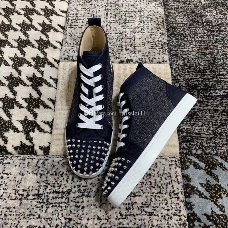 2019 Marca Designer Tênis High-Top Preto Spikes Canvas Respirável Fundo Vermelho Plano Para Homens e Mulheres Sneakers Sapatos de Caminhada