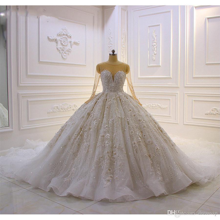 2020 de lujo del vestido de boda del cordón de los vestidos de bola cuello de la joya con cuentas apliques de flores 3D País novia de la boda de la vendimia más el tamaño de los trajes de soirée