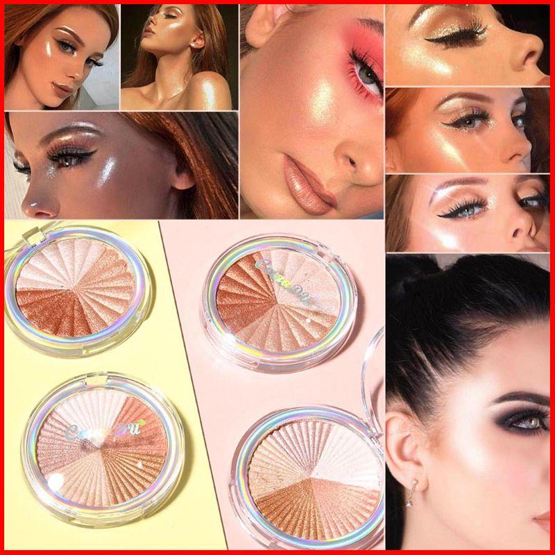 CmaaDu Cosmetics 2 Colors Face Makeup Highlighter Shimmer Highlightter Pressed Powder Bronzers Highlighters Beauty