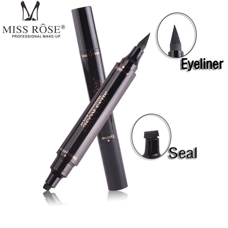 MISS ROSE Winged Eyeliner Stamp Dual Ended Liquid Eye Liner Pen Waterproof Smudge Proof Long Lasting Eyeliner Pencil Vamp Style
