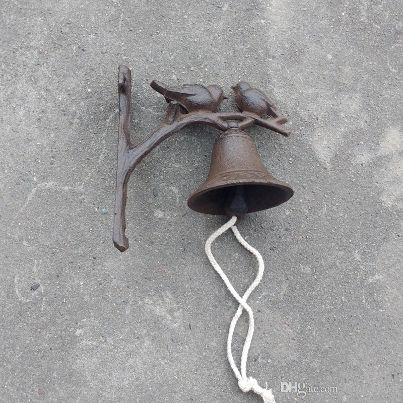 Rustic Brown Cast Iron Welcome Dinner Bell 2 Birds Hanging Welcome Bell Dinner Bell Metal Crafts Door Wall Mounted Decoration Retro Vintage
