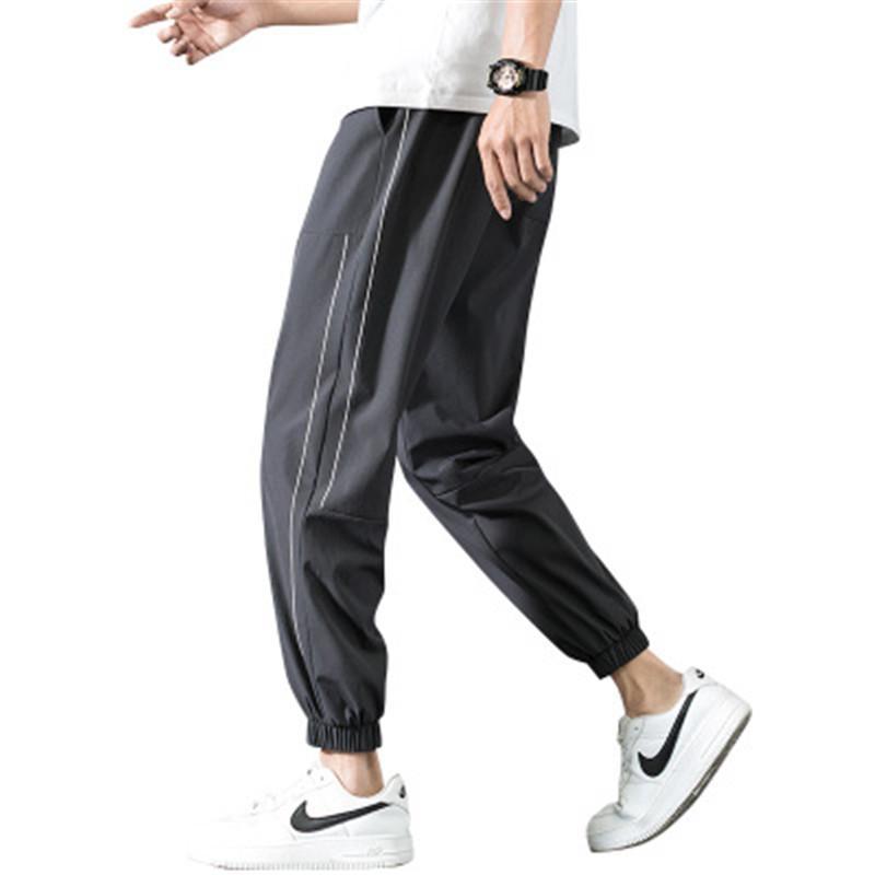 Calças soltas rápida Homem de Gelo Seco longo de seda moda pés Feixe Calças Lápis Verão Fina Esporte Hetero Casual bolso Calças Roupa
