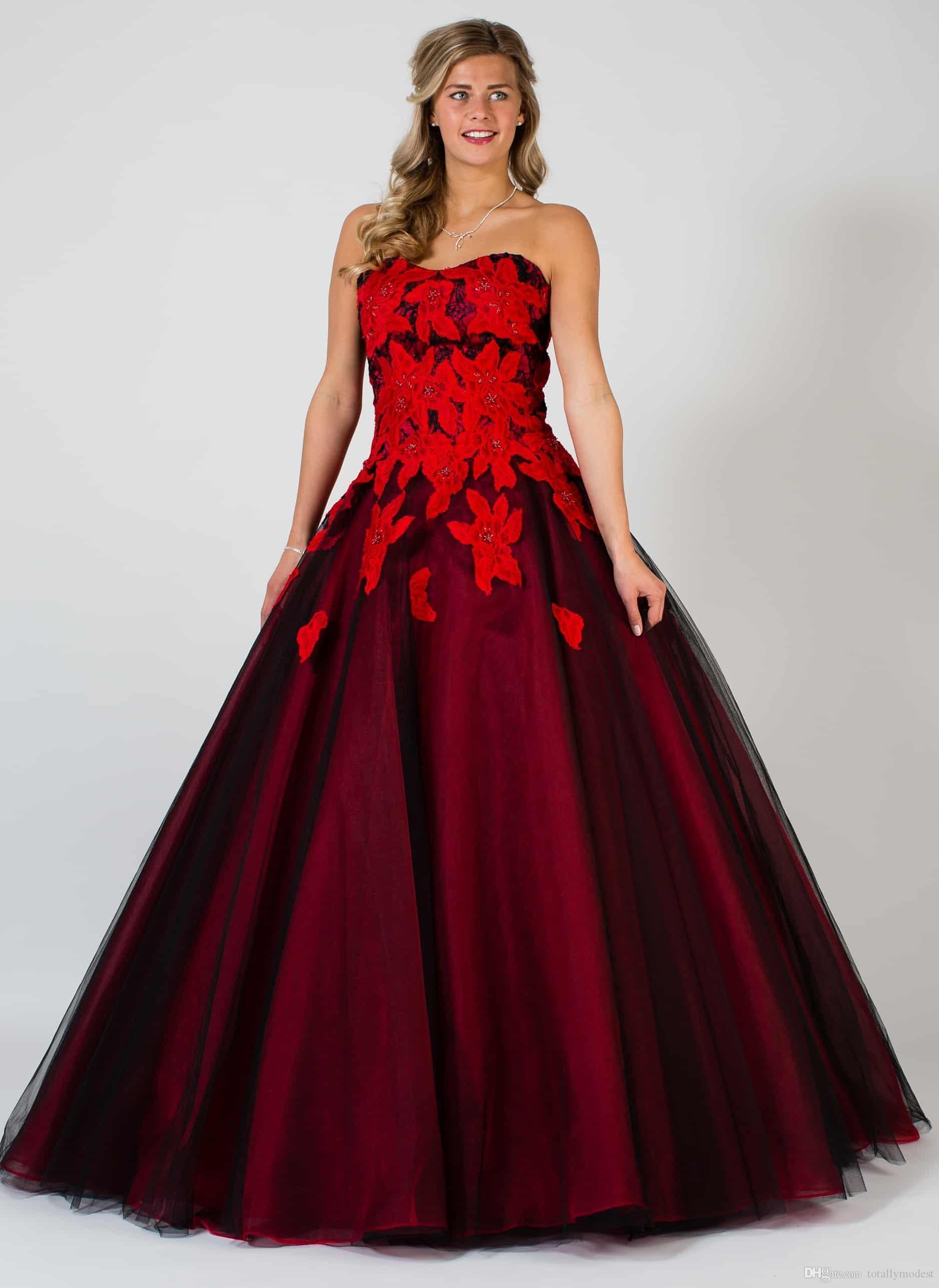 Gótico Negro y rojo una línea de vestidos de novia de novia de encaje de tul de novia vestido de novia no blanca por encargo del traje de mariée