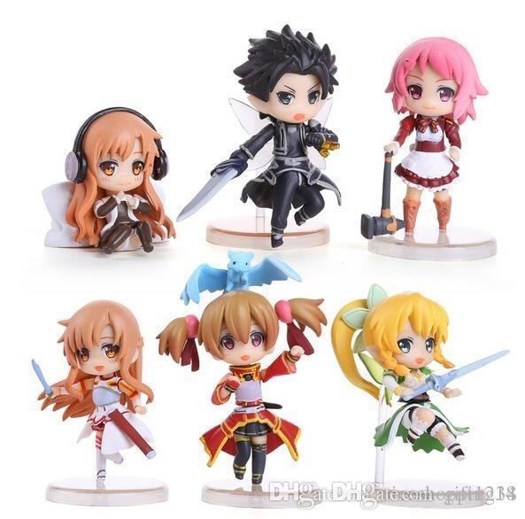 low price Discout T611 2.5inch 6CM 6pcs/set Sword Art Online Kirigaya Kazuto Yuuki Asuna Lefa Action Figure OPP
