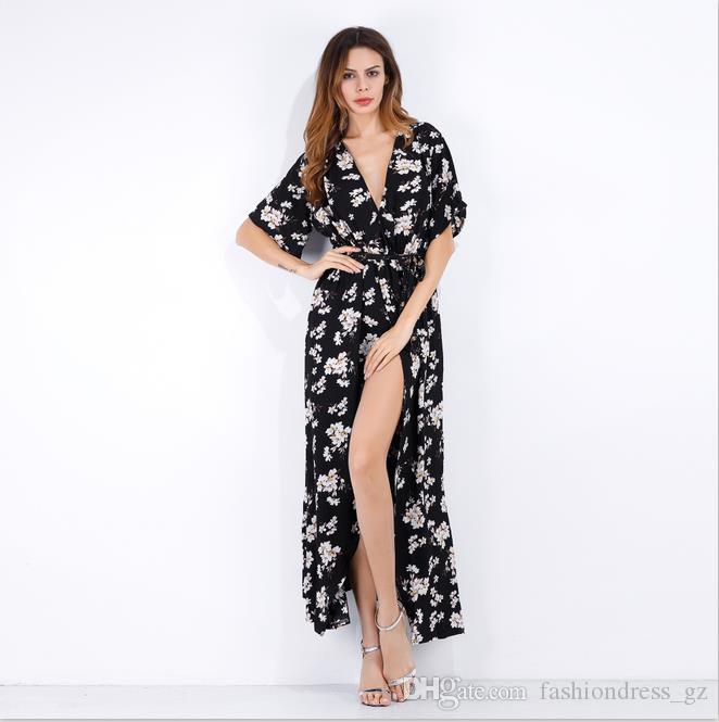 Femmes Imprimé Robe De Plage V Cou Polyester Motif Floral Plusieurs styles 14 Couleurs S M L XL Casual Sexy Wrap Maxi Dress