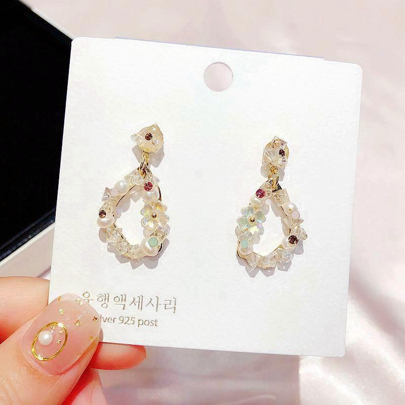 High-End-Handgemachte Kristalltropfen-Ohrring-Gold Farbe Shell Blume Frischwasserperlen Frauen Statement Ohrringe Schmuck