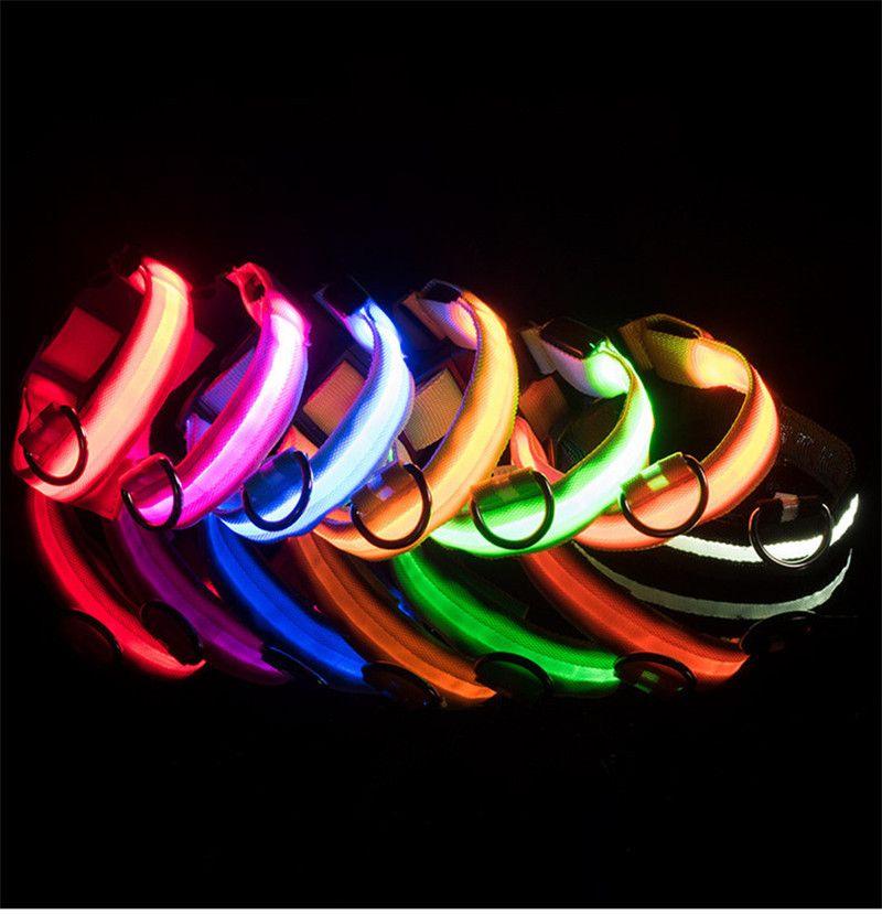 Collar de perro de nylon para mascotas LED Lámpara nocturna de seguridad LED parpadeante resplandor de la correa del perro Pequeño oscuro para mascotas collar de perro collar de seguridad intermitente