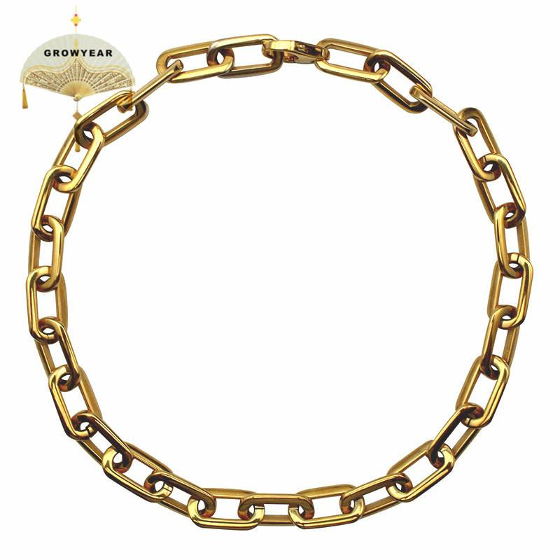 Thick Flat Rounded Rectangle Gold-color Link Chain Necklace Men Women Stainless Steel Fashion Jewelry 1 Piece Y19050901