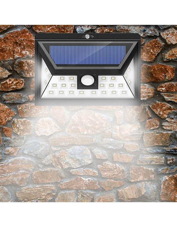 Luces solares LED para exteriores 24 LED 3 modos opcionales Luz de sensor de movimiento inalámbrico con 270 ° gran angular IP65 a prueba de agua