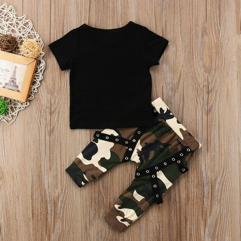 Infant Toddler Baby Boys Clothes Set Black King T-Shirt Pendant Camouflage Trousers Children 2Pcs Summer Casual Outfits Fashion