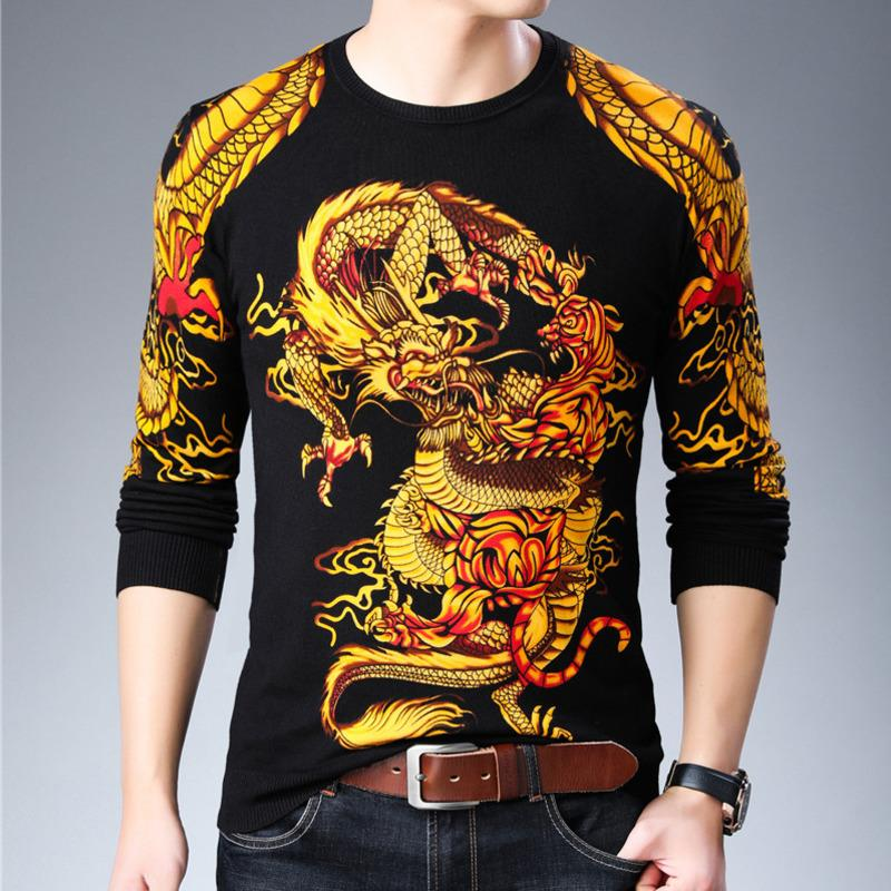 Moda 2020 Pullover New Dragon Impreso suéter para hombre Ropa Erkek Kazak Sueter Hombre Slim Fit para hombre Pullover Homme Chompas