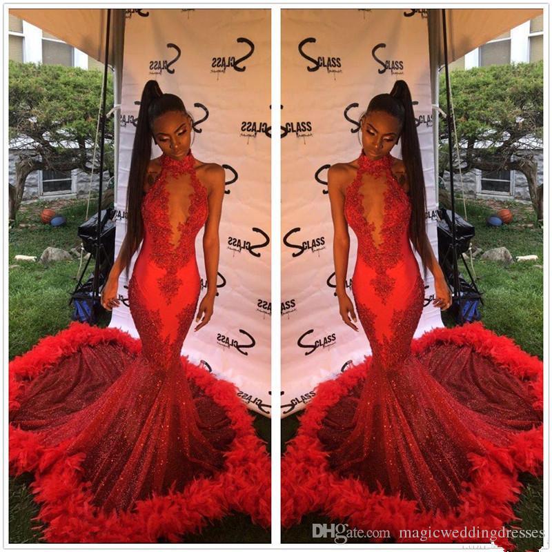 2019 Halter de encaje rojo sirena vestidos largos de baile de lentejuelas apliques de piel barrido tren fiesta formal vestidos de noche Vestidos De Novia caliente