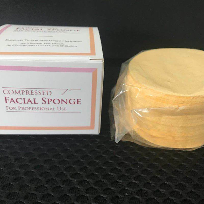 Facial Schwämme New Compressed Natural Cellulose (50 Count) 65mm * 10mm Druck Schwamm für den professionellen Gebrauch 50pcs / set