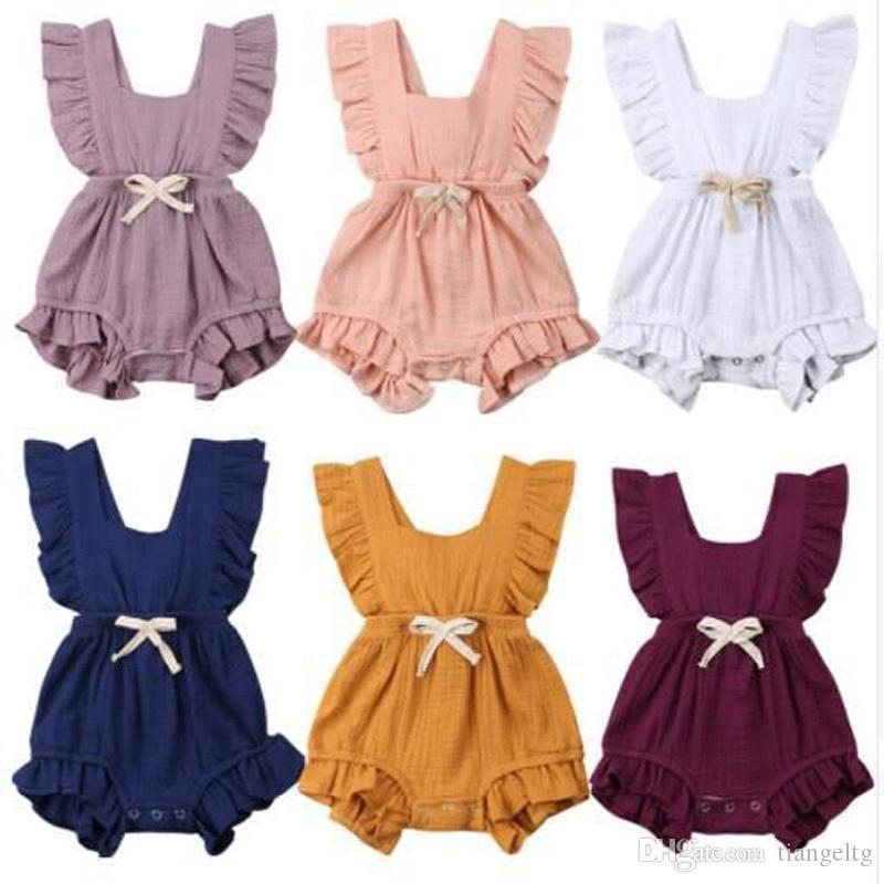 Девушки Твердые Rompers младенца 11 цветов Solid Bow Tie хлопок ремень Ruffle комбинезон Детские Onesies Девочки Нижнее 0-3T 04