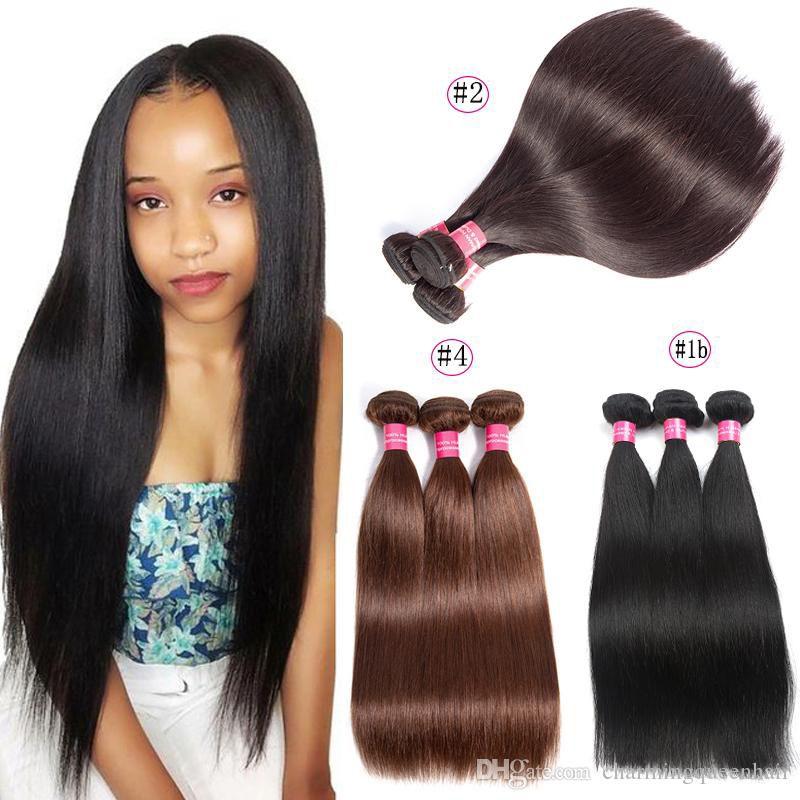 Бразильские прямые пучки волос 1B или 2 или 4 цвета можно купить прямые девственные человеческие волосы расширение 100% человеческих волос пучки Non Remy
