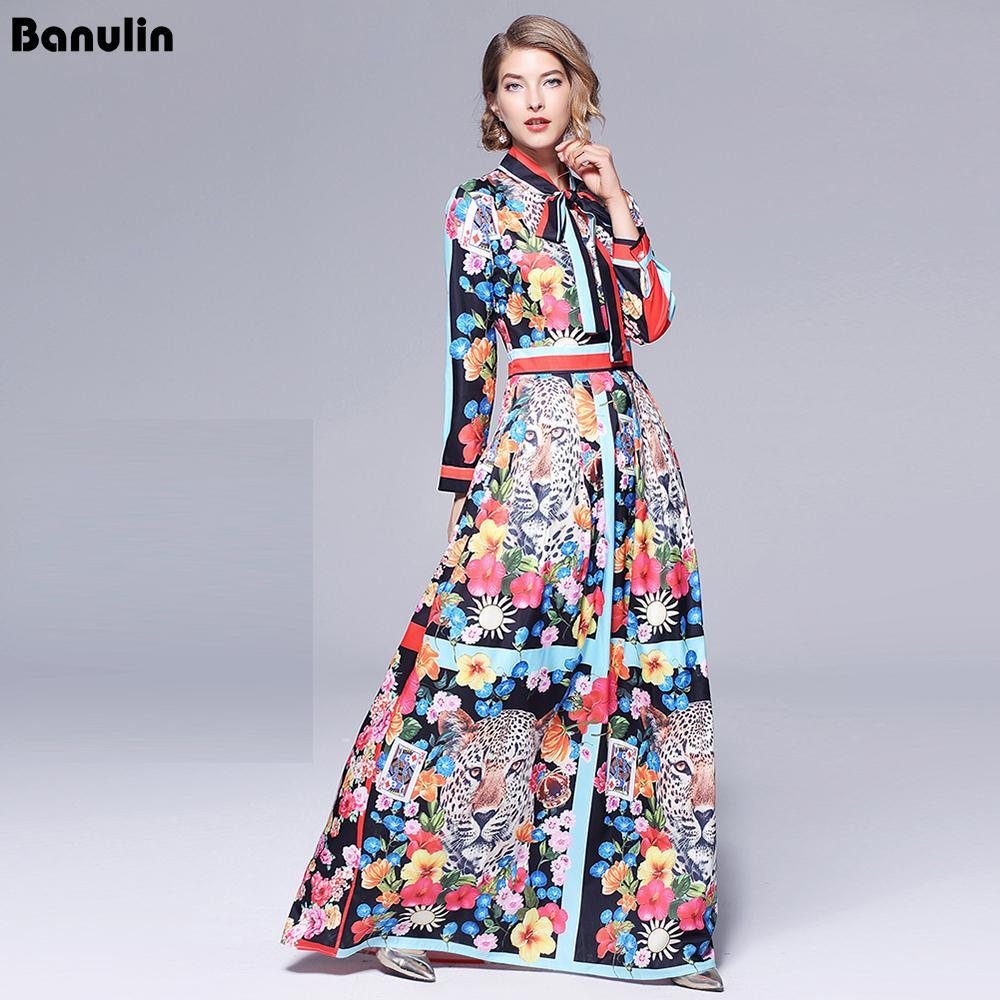 Runway Maxikleider 2019 Frauen-Qualitäts-Bogen-Ausschnitt Vintage Tierdruck-Fußboden-Längen-lange Partei-Kleid Vestidos Robe Femme