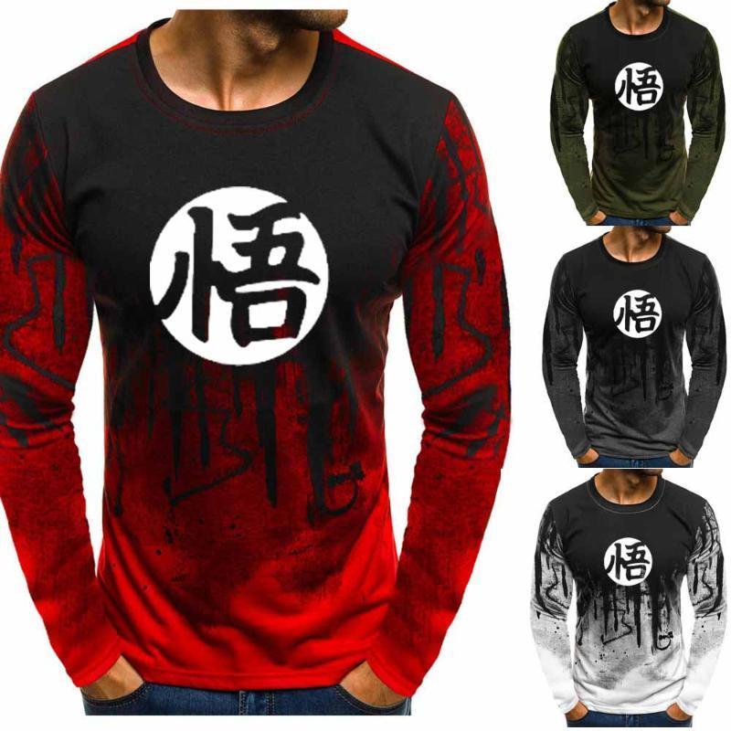Anime Männer Gradient O Neck Pullover Goku O-Ansatz Sweatshirt beiläufig Hip Hop Harajuku Anzug Hoodies E