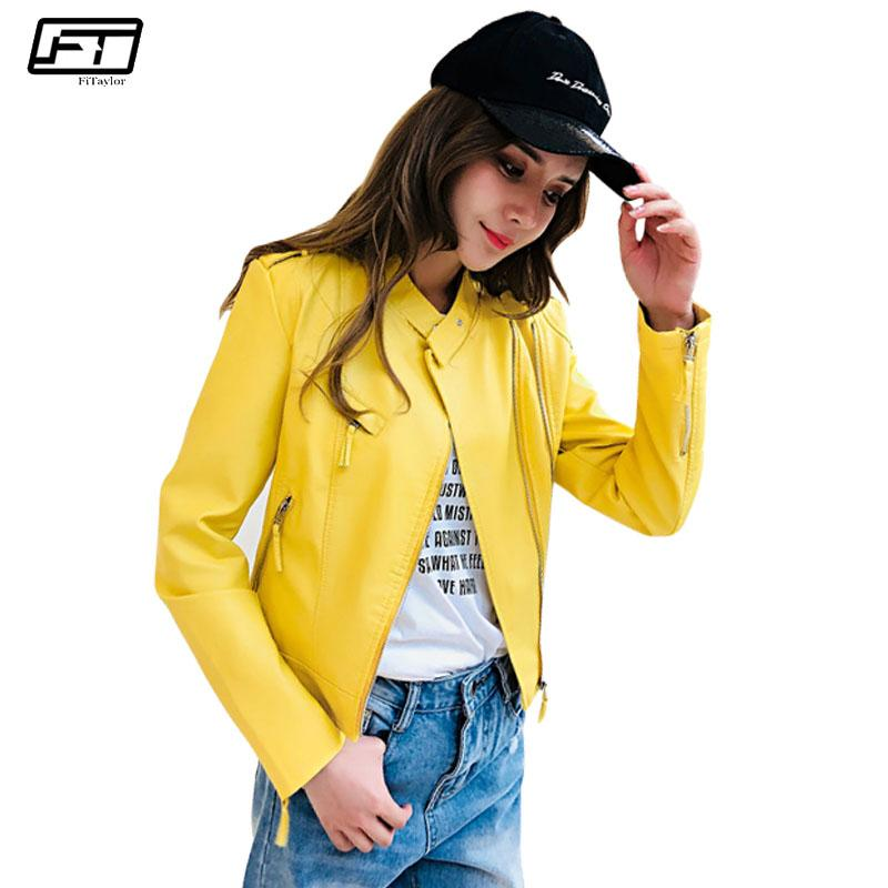 Fitaylor Biker Spring Leather Jacket Women 2018 Motorcycle Pu Washable Leather Jackets Femme O-neck Slim Short Black Coat Female