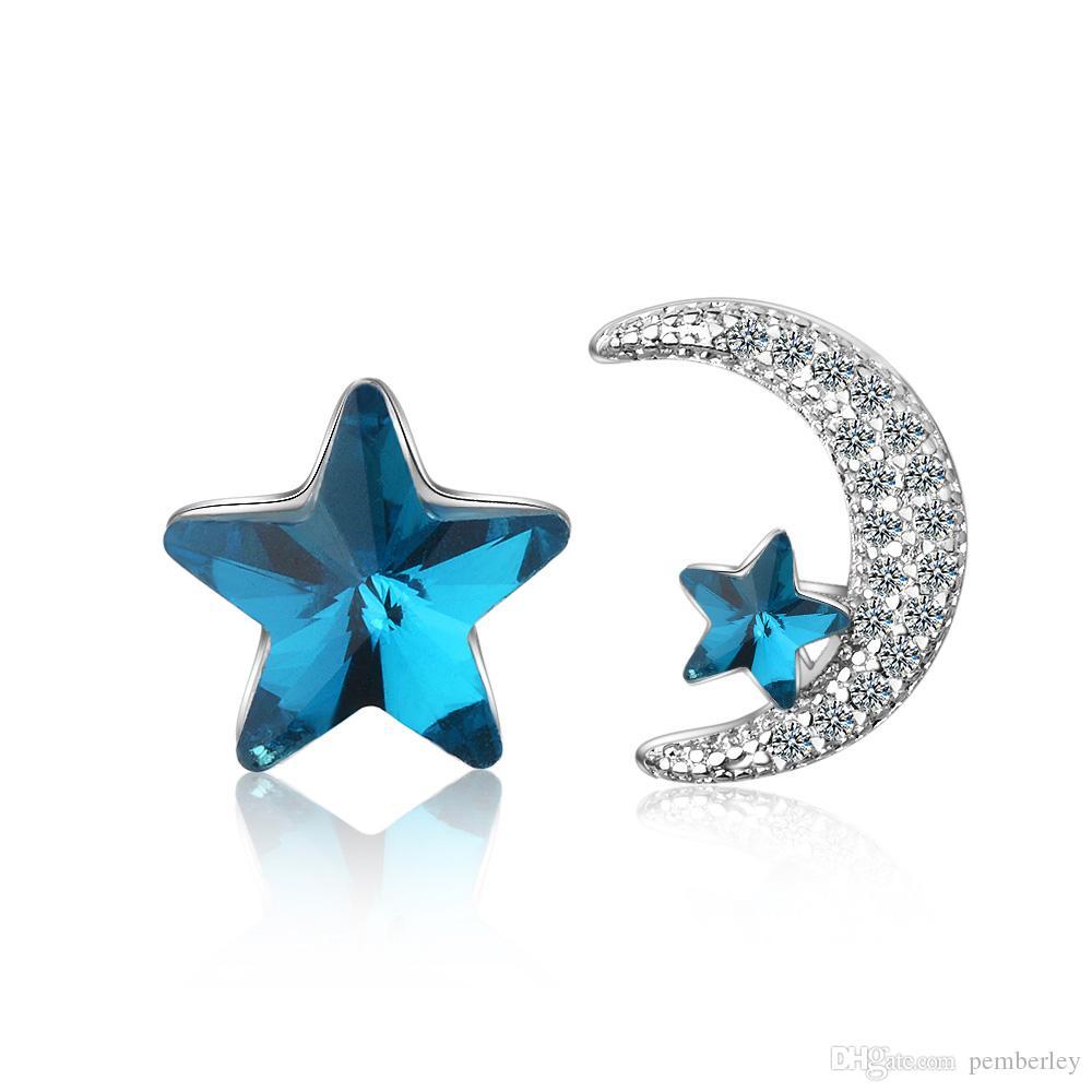 ED659 Ohrringe Designer Schmuck Mode Valentinstag Geschenke verdienen blaue Kristallstern und weißen Mond reizend