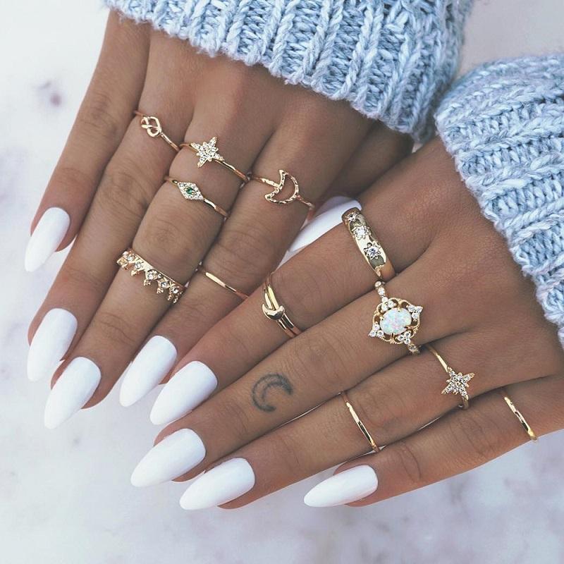Anillos de dedo ópalo de cristal de la estrella del set de la corona de joyas de Knuckle Party los anillos de boda de playa 13PCS Bohemia Oro Luna Mujeres