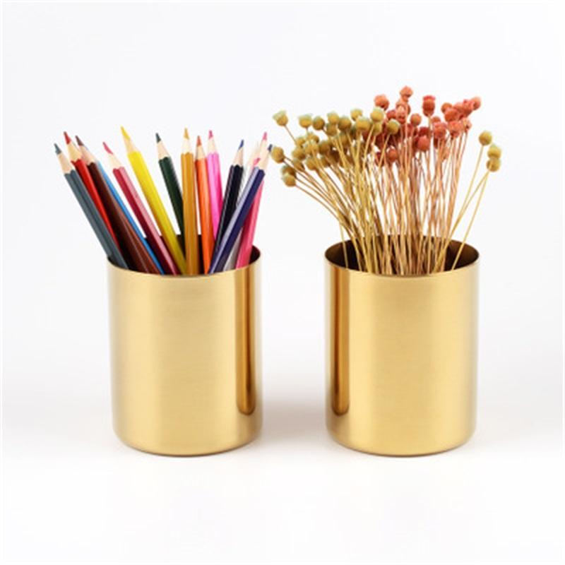 تصميم الإبداعي المعادن النحاس زهرية ذهبية اللون دائري القلم حامل متعدد الوظائف كأس حلية للمنزل والمدرسة 24MW H1