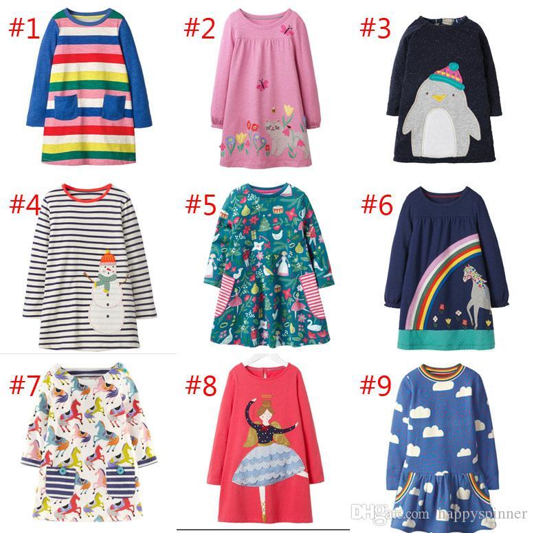 Factory direct 2019 Autumn New Cotton Princess Dress Style Girl Dress Cartoon Cute Long Sleeve Children's Dress epacket
