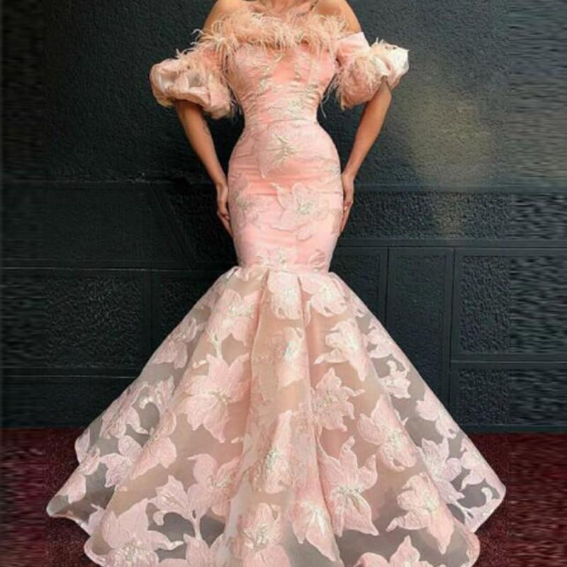 Blush Pink Mermaid Prom Dresses Cheap Half Sleeves Flowers Applique Party Gowns robe de soiree Dubai African Mermaid Evening Dress