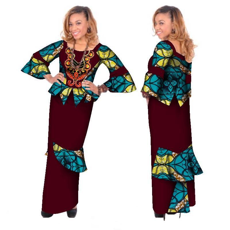 Африканские топы с вышивкой Bazin Riche и Ruched макси-юбки для женщин Африканский принт 2 шт. Набор юбок Splice Clothing WY173