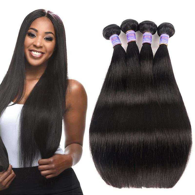 Brazilian Glattes Haar Bündel 3 Stück Menschliches Haar Bundles Perruques De Cheveux Humains Häutchen-Aligned Haar Natural Black Rohboden