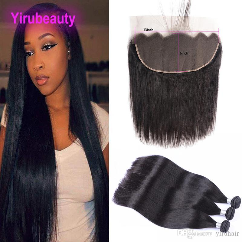 Brazilian Virgin Hair 10-30inch 3 Bundles With 13X6 Lace Frontal With Baby Hair Extensions Wholesale Straight Hair With 13*6 Lace Frontal