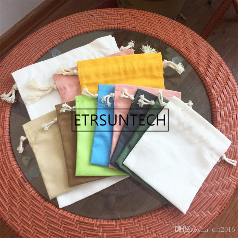 100pcs High quality Handmade Cotton canvas Storage Package Bag Drawstring Bag Travel Women Small Cloth Bag Christmas Gift pouch