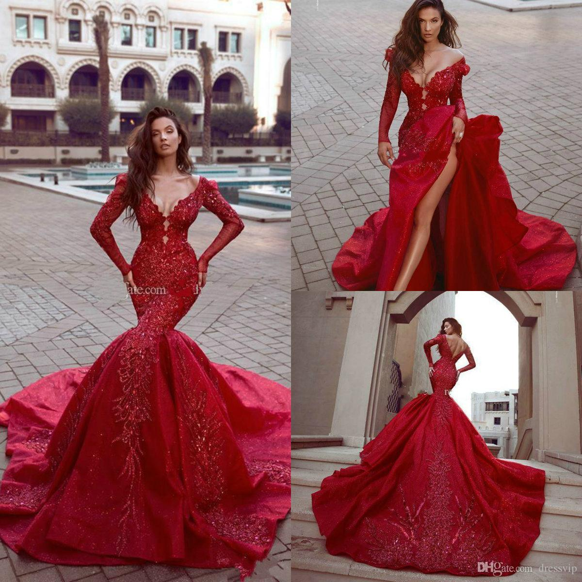 Rami Kadi 2018 Red Evening Dresses Off The Shoulder Long Sleeves Beads Sequins Appliques Sweep Train Prom Dress Custom Made Mermaid Gowns