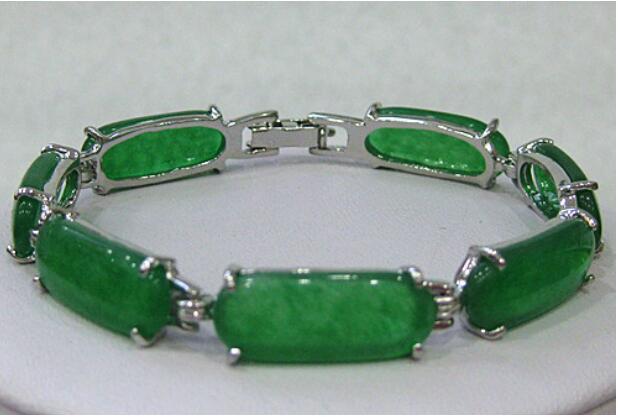 Jewelryr Jade Bracelet en gros vert Pierre Naturelle perles argent plaqué lien manchette bracelet jonc 7.5 pouces Livraison Gratuite