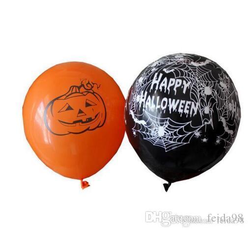 12-Zoll-Latex-Ballone Spinnen-Netz Kürbis Horror Halloween Dekoration Globos Helium Air Ball Kinder Spielzeug-Geburtstags-Party-Dekor-200pcs / lot GA327
