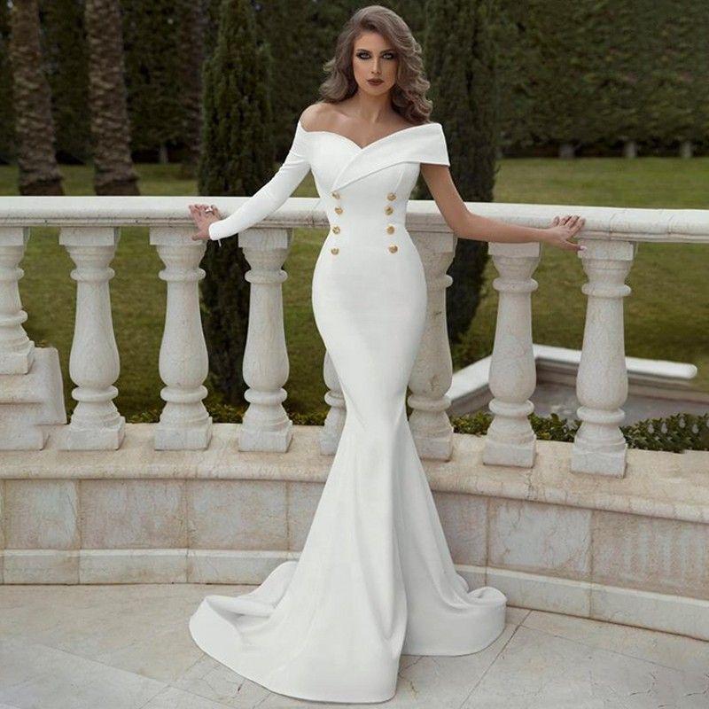 Простые тонкие сатиновые русалки свадебные платья 2020 от плеча один с длинным рукавом свадебные платья для невесты платье