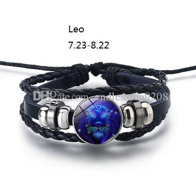 Constellation Zodiac Sign Bracelet Men Woven Glass Jewelry Punk Charms