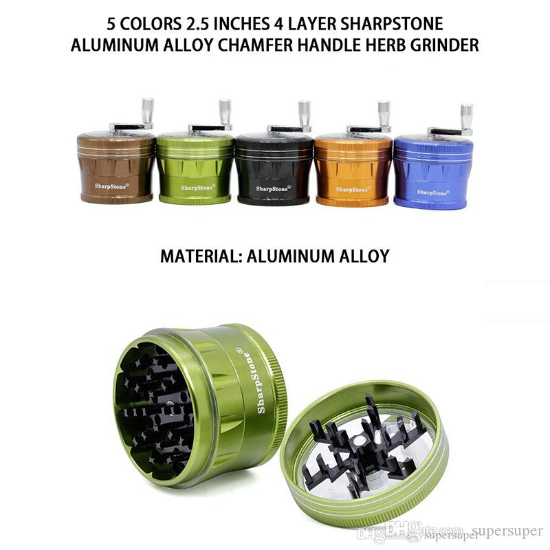 Kurbel Grinder 63mm Aluminiumlegierung-Metallschleifmaschinen 2,5 Zoll 4 Schicht für trockene Kräuter Rauchen
