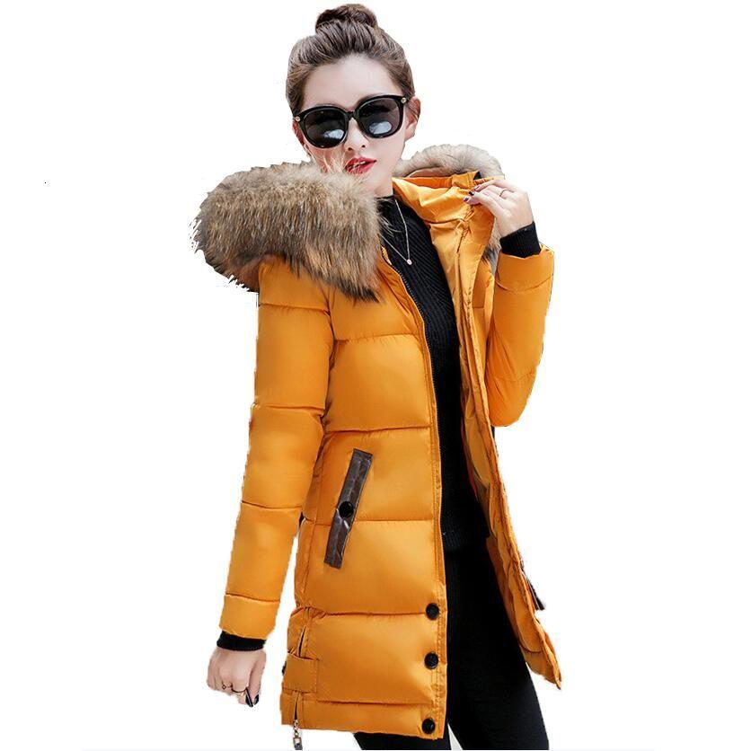 Зимняя куртка женщин большой меховой с капюшоном утепленная Длинные пальто хлопка проложенный дамы пальто зимы женщин теплые сгущаться Jaqueta Feminina INVERNO V191209