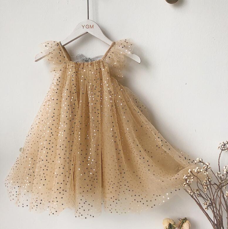 Vente au détail 2020 Enfants Filles d'été Fée Paillettes Retour Bow Robes, Princesse douce Vêtements 2-7T T200417