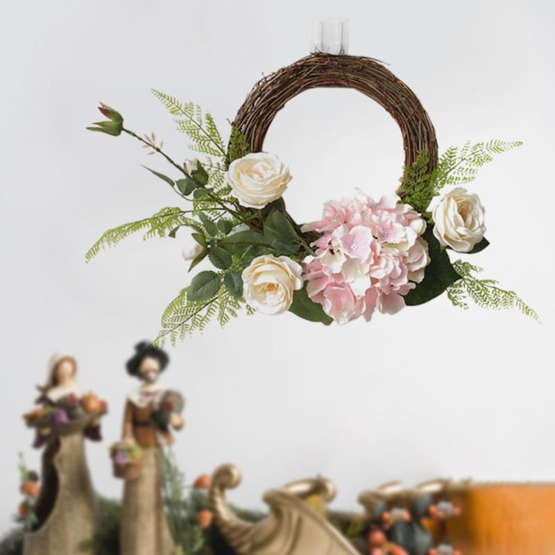 Rund künstliche Rose Blumenkranz Gefälschte Hydrangea Blumen Rattan Garland mit grünen Blättern für Tür-Fenster Hochzeitsdeko