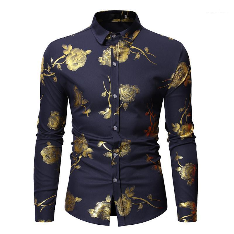 Fashion Lapel Neck Single Breasted Mens Shirts Casual Males Clothing Golden Rose Print Mens Casual Shirts