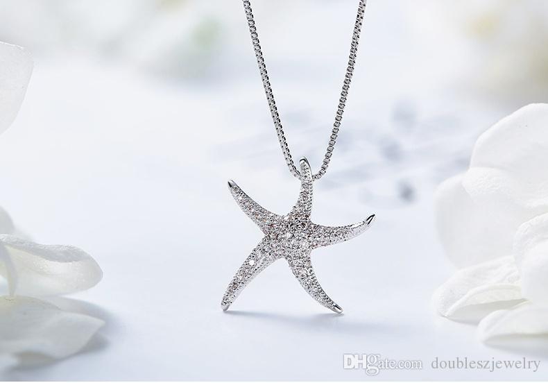 2017, o novo europeu e americano de moda grande estrela do mar colar, Boutique Meninas fabricantes de cadeia clavícula atacado
