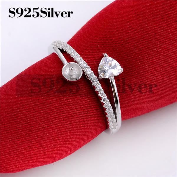 HOPEARL Jóias DIY Descobertas Sólido 925 Sterling Silver Amor Coração Cut Cubic Zirconia Eternity Solitaire Anel de Noivado