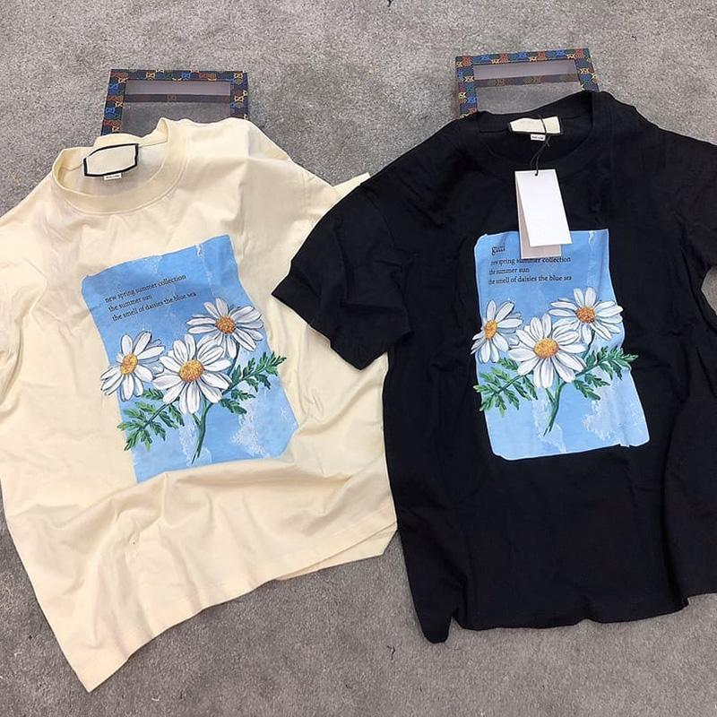Spring Summer Collection Luxury Italy Europe Vintage Daisy Daisies The blue sea Painting Tee Tshirt Men Women Short Sleeve T shirt