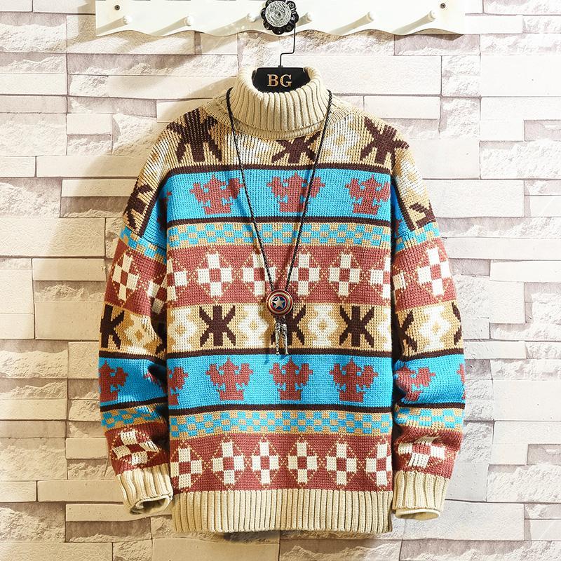 2019 Autunno Inverno Natale o-collo casuale Patchwork Pullover Maglione Uomini di modo di marca Turtleneck Warm Pull
