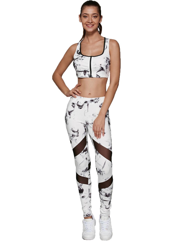Yoga Seti - Kadınlar İki Adet Set Spor Spor Sütyen Ve Pantolon Kolsuz Gym Egzersiz Giyim T200424