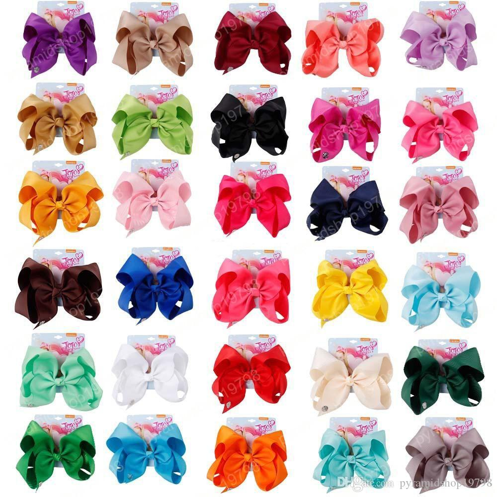 8 Inch 30 Colors JO Bows Kids Hair Clips Candy Color Baby Girls Barrettes Children Princess Hair Accessories